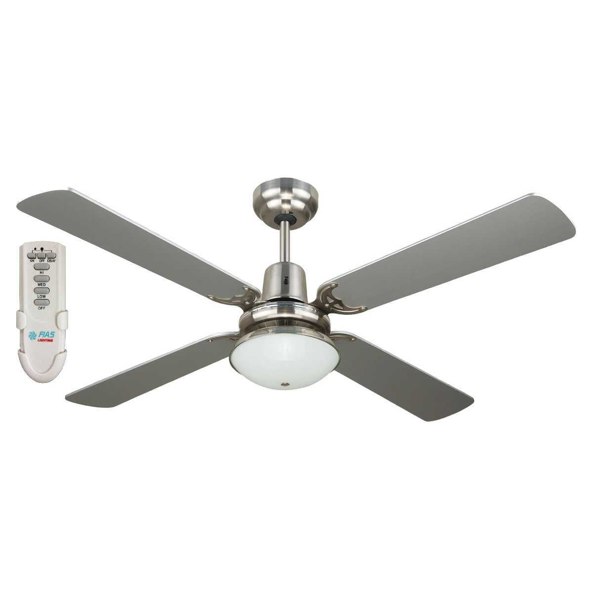 Fias Ramo 48 Inch Ceiling Fan With Light And Remote Control Silver Fias Lighting