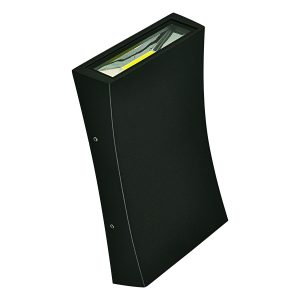 Curve up and Down LED Integrated External Light in Black